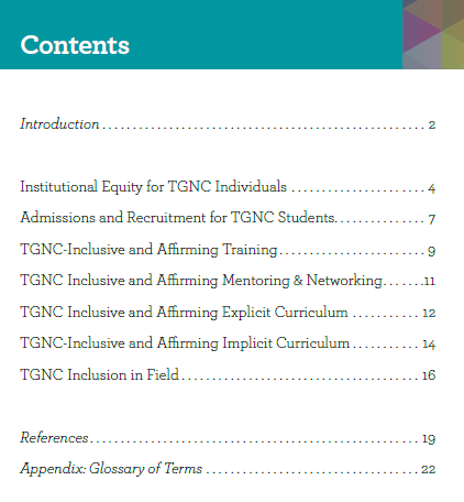 Contents page for the guideline