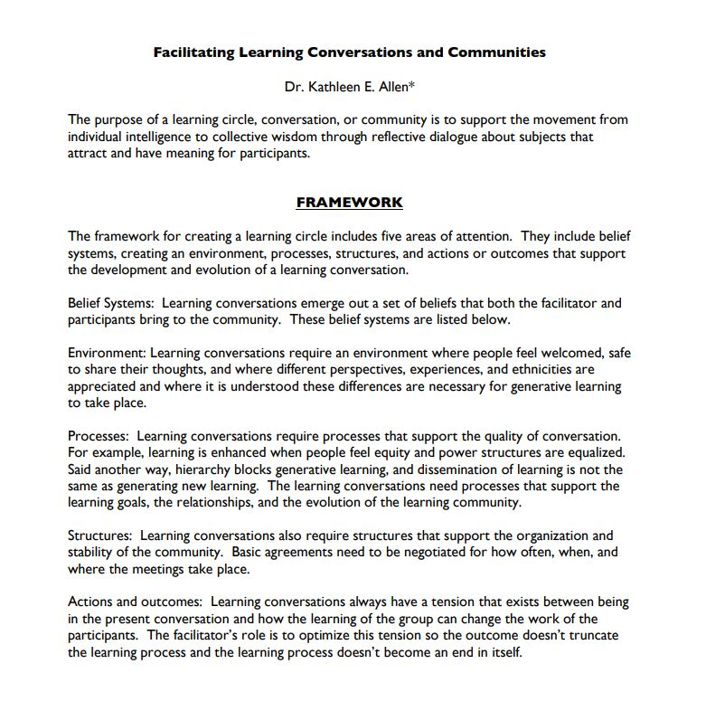 an excerpt from facilitating learning conversations and communities